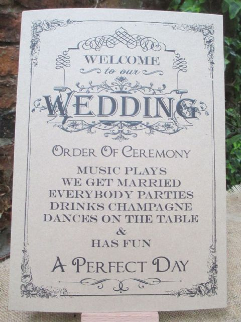 Welcome To Our Wedding Sign Order of Ceremony A4 Size Poster Shabby Chic Card